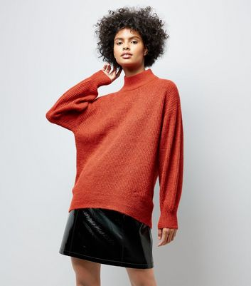Red Longline Funnel Neck Jumper