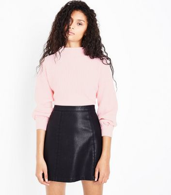 Pink Ribbed Balloon Sleeve Jumper