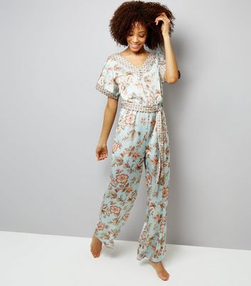 Tall Mint Green Contrast Floral Satin Lounge Jumpsuit