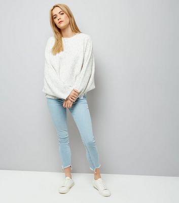 Pale Grey Batwing Sleeve Jumper
