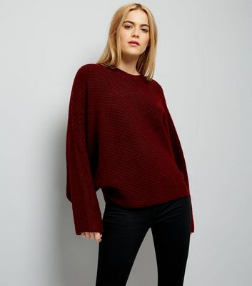 Burgundy Batwing Sleeve Jumper