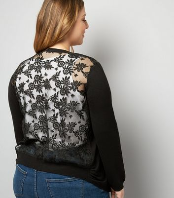 Curves Black Lace Back Cardigan