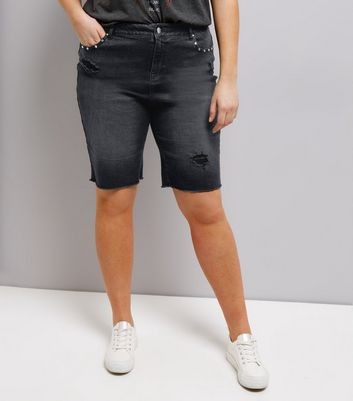 Curves Black Studded Denim Shorts