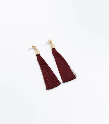 Rust Thread Tassel Drop Earrings