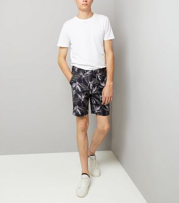 Navy Palm Print Tailored Shorts