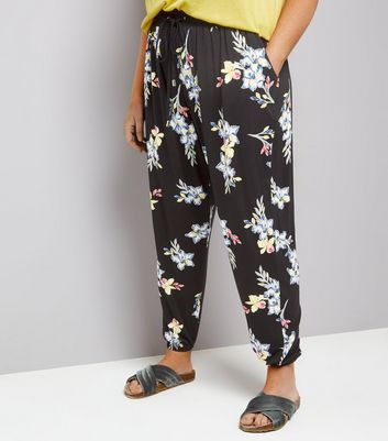 Curves Black Floral Print Jersey Joggers