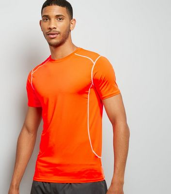 Orange Stretch Short Sleeve Sports T-Shirt