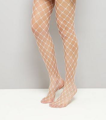 White Oversized Fishnet Tights