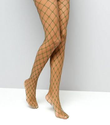Khaki Oversized Fishnet Tights