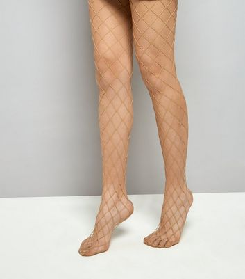 Nude Oversized Fishnet Tights