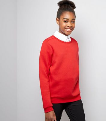 Teens Red Crew Neck Jumper