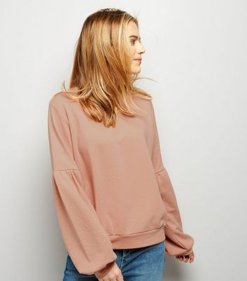 Shell Pink Puff Sleeve Sweater