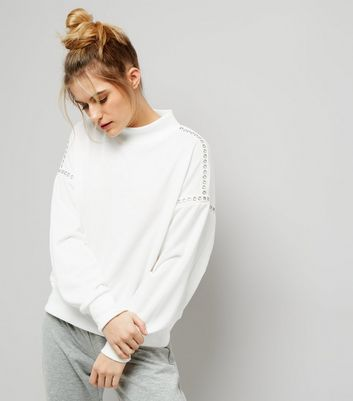 Cream Stud Trim Funnel Neck Sweater