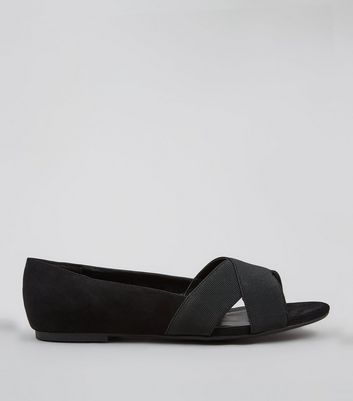 Wide Fit Black Elasticated Cross Strap Pumps