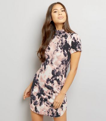 AX Paris Pink Floral Print Bodycon Dress