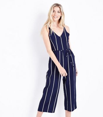 AX Paris Navy Stripe V Neck Jumpsuit