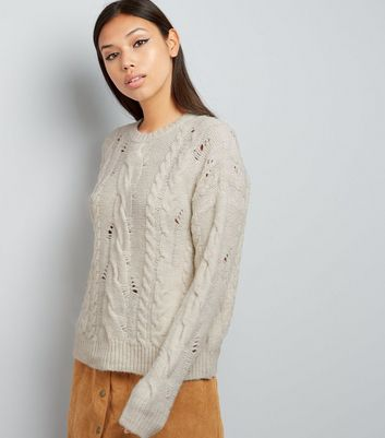 Cream Ladder Ripped Cable Knit Jumper