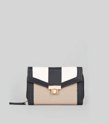 Stone Colour Block Textured Fold Over Purse