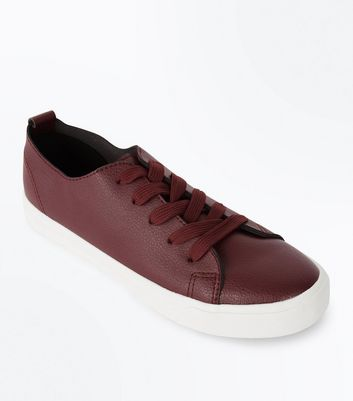 Burgundy Lace Up Trainers