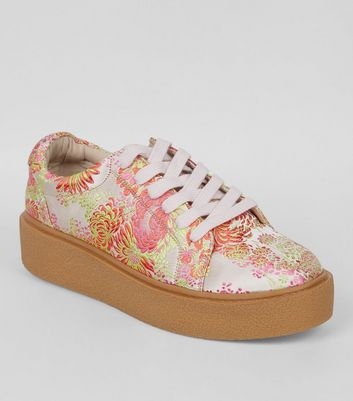 Pink Sateen Floral Brocade Chunky Sole Trainers