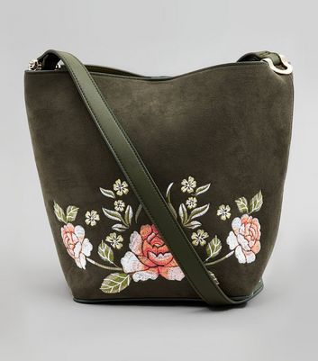 Khaki Suedette Floral Embroidered Bucket Bag