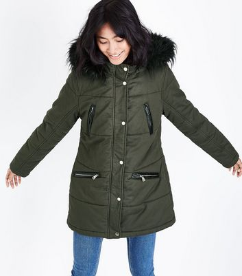 Khaki Leather-Look Trim Zip Pocket Parka
