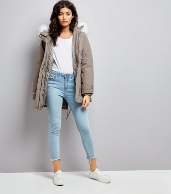 Grey Faux Fur Trim Hooded Parka