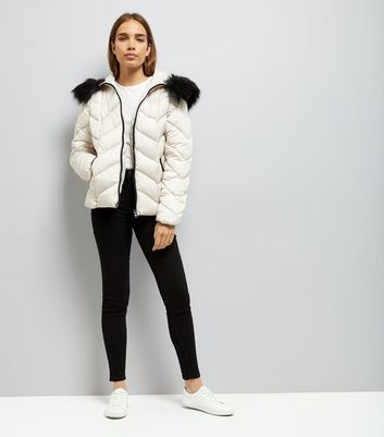 Cream Faux Fur Trim Hooded Chevron Puffer Jacket