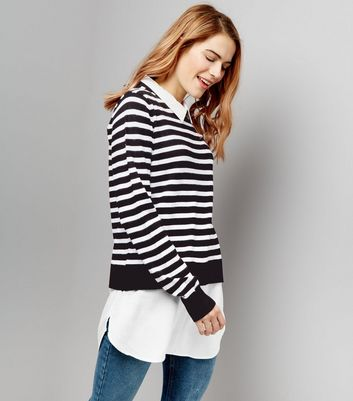 Blue Vanilla Black Stripe 2 in 1 Jumper