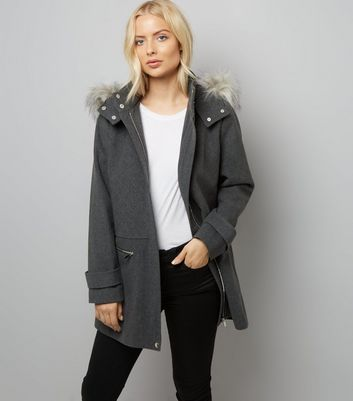 Grey Faux Fur Trim Hooded Duffle Coat