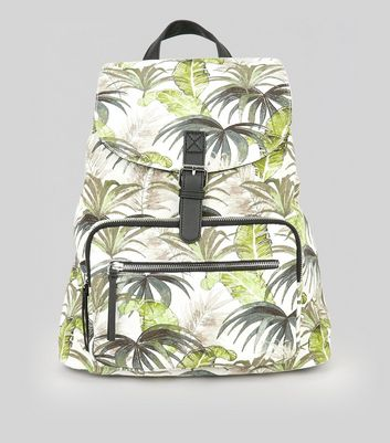 White Palm Print Backpack