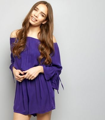 Purple Bardot Neck Bell Sleeve Playsuit