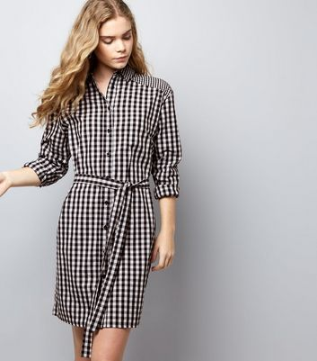Black Gingham Check Tie Waist Shirt Dress