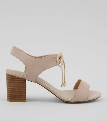 Pink Comfort Suedette Lace Up Low Block Heels