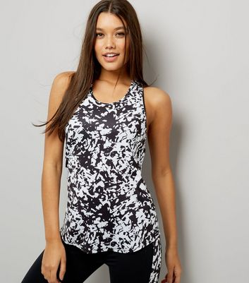 Black Monochrome Mesh Racer Back Sports Vest