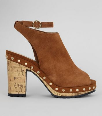 Tan Suede Stud Side Heeled Clogs