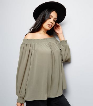 Curves Khaki Shirred Bardot Neck Top
