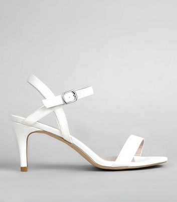 Ivory Sateen Ankle Strap Heels