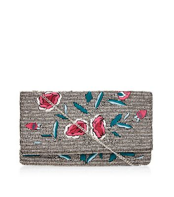 Silver Floral Embroidered Beaded Clutch