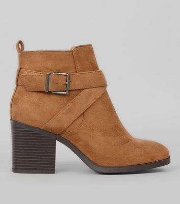 Wide Fit Tan Suedette Square Toe Heeled Boots