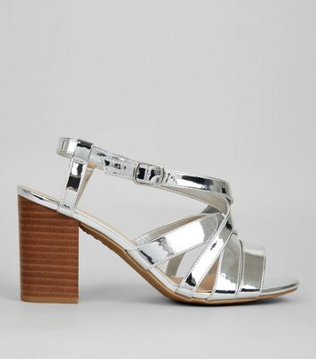 Wide Fit Silver Contrast Block Heeled Sandals