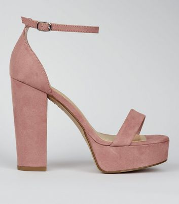 Wide Fit Pink Suedette Platform Heeled Sandals