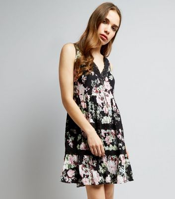 Black Floral Print Crochet Trim Dress