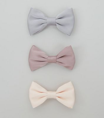 3 Pack Pink Blue and Lilac Satin Bow Clips
