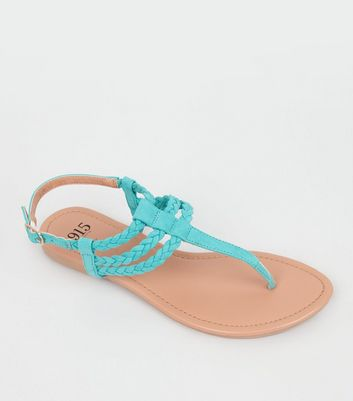 Teens Mint Green Suedette Plaited Sandals
