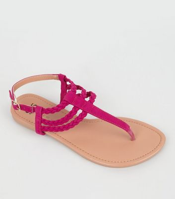 Teens Pink Suedette Plaited Sandals