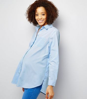Maternity Blue Contrast Stripe Panelled Shirt