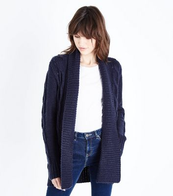 Tall Navy Cable Knit Cardigan