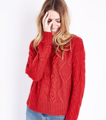 Tall – Roter Pullover mit Zopfmuster