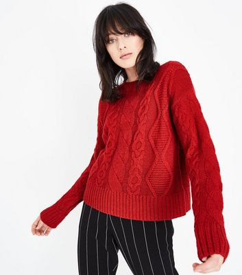 Tall Red Cable Knit Jumper